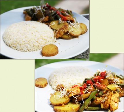 Riz accompagnant des légumes et tempeh sautés