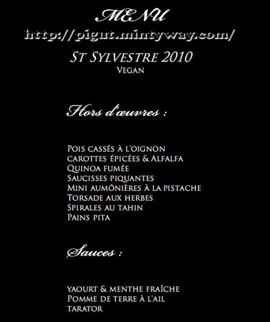 Menu vegan pour la St Sylvestre