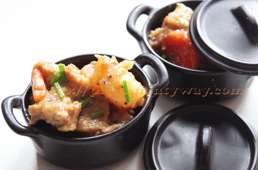 Seitan pommes-de-terre et carottes au jus