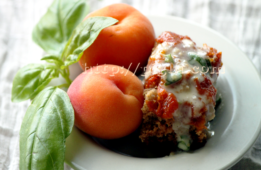 Gâteau moelleux à la compote d'abricot et sa crème de basilic