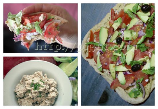 Pizza aux légumes crus et fromage végétal d'okara