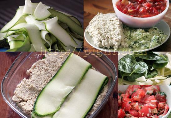 Préparation d'une lasagne crue végétale