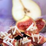 Mignardises de figues à la purée de châtaignes et bâtonnets de poire