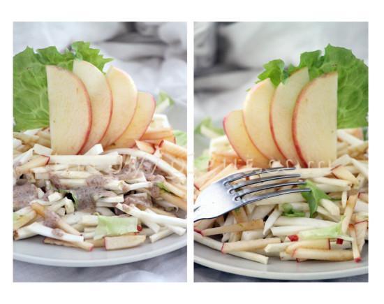 Salade cru avec de la pomme et du céleri rave