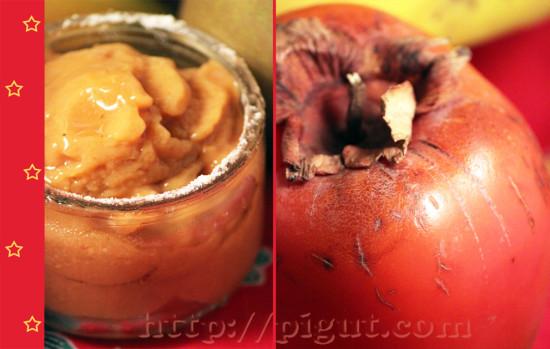 Dessert grivré au kaki, à la banane et à la poire