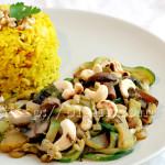 Riz jaune et légumes aux noix de cajou