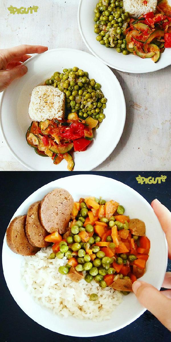 © PIGUT - Assiettes véganes avec des petits pois